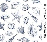 seashells vector seamless...   Shutterstock .eps vector #795963628
