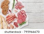 salami  sliced ham  sausage ... | Shutterstock . vector #795966670