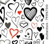 doodle line heart icons... | Shutterstock .eps vector #795967543