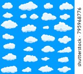 clouds set isolated on blue... | Shutterstock .eps vector #795968776