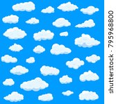 clouds set isolated on blue... | Shutterstock .eps vector #795968800