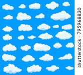 clouds set isolated on blue... | Shutterstock .eps vector #795968830