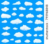 clouds set isolated on blue... | Shutterstock .eps vector #795968848