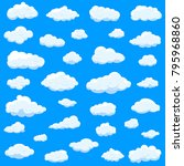 clouds set isolated on blue... | Shutterstock .eps vector #795968860