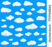 clouds set isolated on blue... | Shutterstock .eps vector #795968866