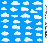 clouds set isolated on blue... | Shutterstock .eps vector #795968869