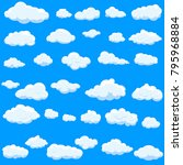 clouds set isolated on blue... | Shutterstock .eps vector #795968884