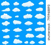 clouds set isolated on blue... | Shutterstock .eps vector #795968893