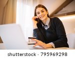 young charming businesswoman... | Shutterstock . vector #795969298