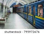 a metro or underground train in ... | Shutterstock . vector #795972676
