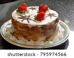 party cake with strawberry | Shutterstock . vector #795974566