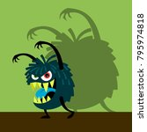 scary blue monster with shadow... | Shutterstock .eps vector #795974818