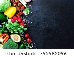 set of fresh vegetables on a... | Shutterstock . vector #795982096