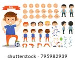 boy kid playing football and... | Shutterstock .eps vector #795982939