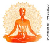 watercolor silhouette of yoga... | Shutterstock .eps vector #795983620