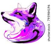 surreal and artistic purple fox ... | Shutterstock .eps vector #795984196