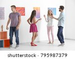 group of people in art gallery | Shutterstock . vector #795987379