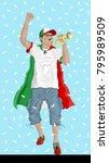 iran soccer fan with bugle ... | Shutterstock .eps vector #795989509