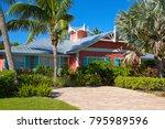 beautiful new florida house...   Shutterstock . vector #795989596