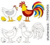 cock and hen family happy... | Shutterstock .eps vector #795990454