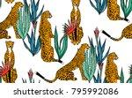 seamless leopard in different...   Shutterstock . vector #795992086