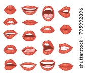 lip kiss vector cartoon smile... | Shutterstock .eps vector #795992896