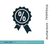 percentage ribbon seal icon... | Shutterstock .eps vector #795995416