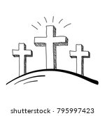 Easter Three Crosses Doodle...