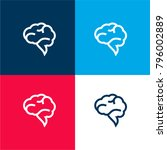 brain speech bubble four color...