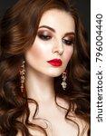beautiful woman portrait with... | Shutterstock . vector #796004440