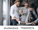 group of three people working... | Shutterstock . vector #796005076