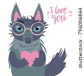 happy valentine cute wolf... | Shutterstock .eps vector #796006864