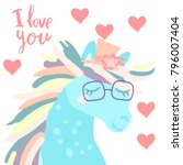 happy valentine cute horse... | Shutterstock .eps vector #796007404