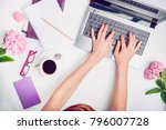 workspace with girl's hands on... | Shutterstock . vector #796007728