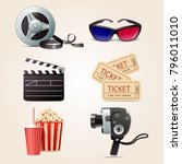 cinema collection of 3d... | Shutterstock .eps vector #796011010