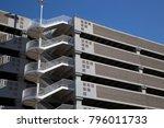 parking garage deck with stairs ...   Shutterstock . vector #796011733