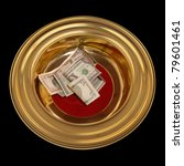 Church offering plate with some currency in it - stock photo