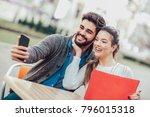 coffee break after shopping.... | Shutterstock . vector #796015318