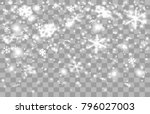 falling snow on a transparent... | Shutterstock .eps vector #796027003