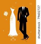 wedding groom suit and bride's...   Shutterstock .eps vector #79602727