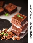 chocolate brownie square pieces ... | Shutterstock . vector #796028599