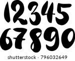 brush lettering numbers. modern ... | Shutterstock .eps vector #796032649