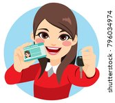 pretty brunette woman happy... | Shutterstock .eps vector #796034974