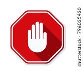hand block ads sign illustration | Shutterstock .eps vector #796035430