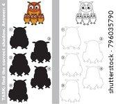 filin owl mother and her infant ... | Shutterstock .eps vector #796035790
