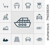transport icons set with cargo... | Shutterstock . vector #796038334