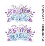 blue roses border. watercolor... | Shutterstock . vector #796043503