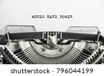 words have power typed words on ... | Shutterstock . vector #796044199