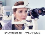 checking eyesight in a clinic... | Shutterstock . vector #796044238