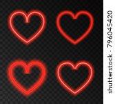 neon red heart. love.  light... | Shutterstock .eps vector #796045420